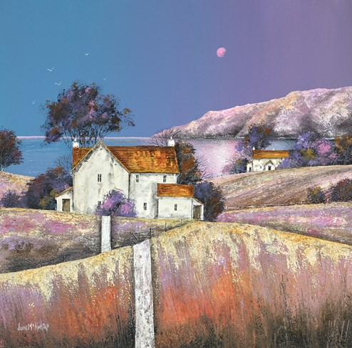 Violet Moon by John Mckinstry - Original Painting on Box Canvas